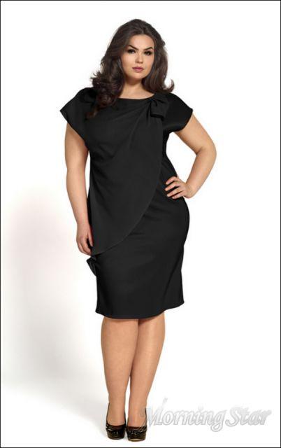 1fb6ff523 Edle Big Size Kleid Etuikleid Plus Size Cocktailkleid Dress Schwarz